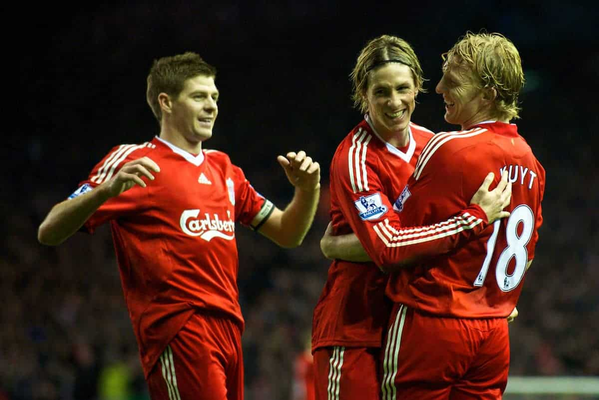 LIVERPOOL, ENGLAND - Sunday, December 13, 2009: Liverpool's Dirk Kuyt celebrates scoring the opening goal with team-mates captain Steven Gerrard MBE and Fernando Torres against Arsenal during the Premiership match at Anfield. (Photo by: David Rawcliffe/Propaganda)