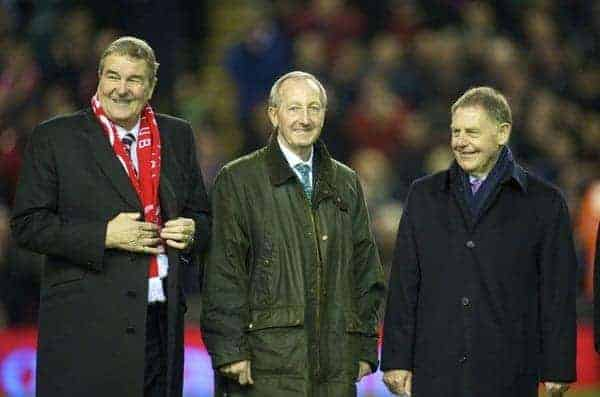 LIVERPOOL, ENGLAND - Wednesday, December 16, 2009: Former Liverpool captain Ron Yeats, joins Gerry Byrne and Gordon Milne on a parade of Liverpool Legends on the pitch at Anfield to commemorate 50 years since the appointment of the late, great Bill Shankly as manager of Liverpool Football Club. (Photo by: David Rawcliffe/Propaganda)