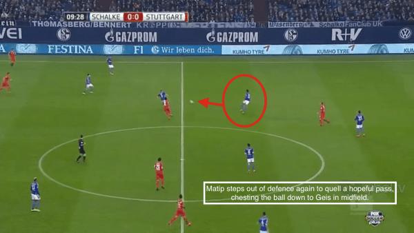 10' - Matip interception, chest into midfield vs. Stuttgart