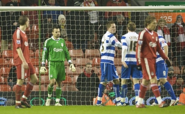 LIVERPOOL, ENGLAND - Wednesday, January 13, 2010: Liverpool's goalkeeper Diego Cavalieri looks dejected after conceding a last minute penalty against Reading during the FA Cup 3rd Round replay match at Anfield. (Photo by: David Rawcliffe/Propaganda)