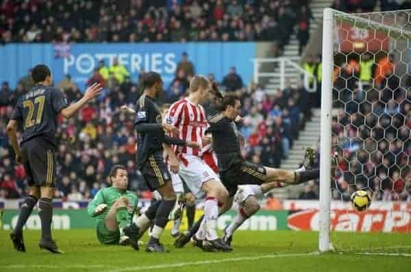 STOKE, ENGLAND - Saturday, January 16, 2010: Liverpool's Sotirios Kyrgiakos scores the opening goal against Stoke City during the Premiership match at the Britannia Stadium. (Photo by David Rawcliffe/Propaganda)