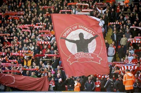 LIVERPOOL, ENGLAND - Saturday, February 6, 2010: A banner featuring the Liverpool supporters union Spirit of Shankly during the Premiership match at Anfield. The 213th Merseyside Derby. (Photo by: David Rawcliffe/Propaganda)
