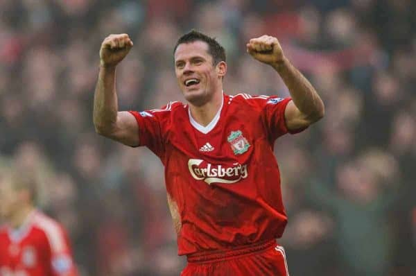 LIVERPOOL, ENGLAND - Saturday, February 6, 2010: Liverpool's Jamie Carragher celebrates after a hard fought victory over bitter rivals Everton during the Premiership match at Anfield. The 213th Merseyside Derby. (Photo by: David Rawcliffe/Propaganda)