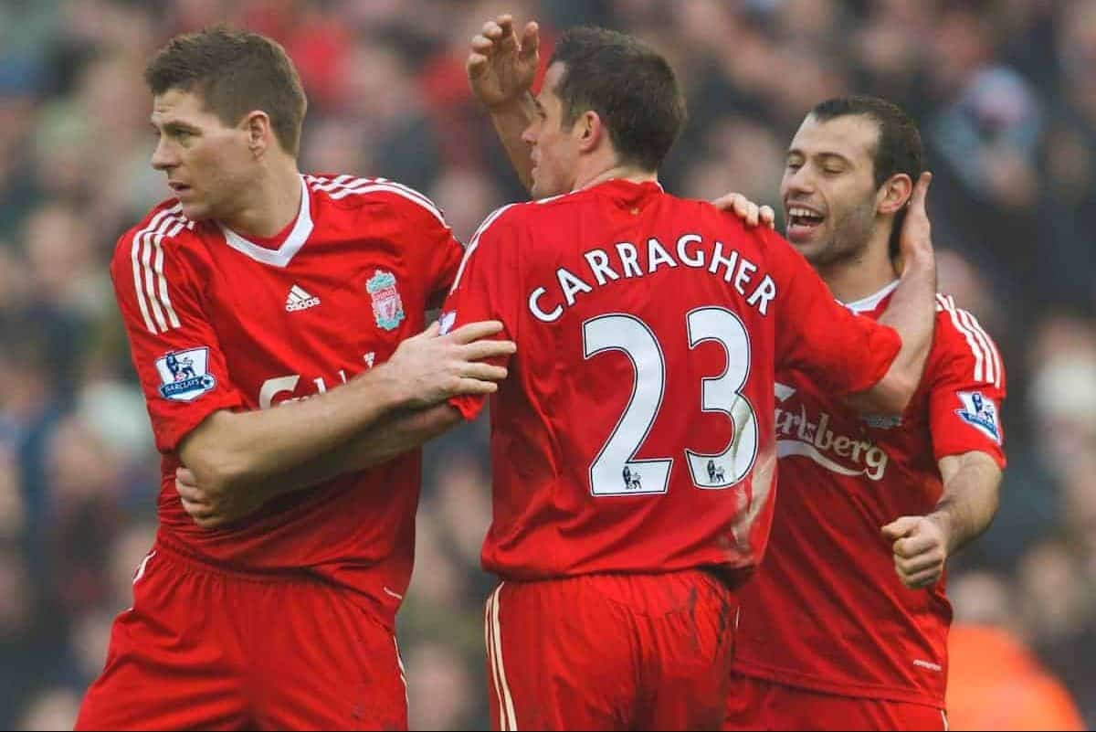 LIVERPOOL, ENGLAND - Saturday, February 6, 2010: Liverpool's captain Steven Gerrard MBE, Jamie Carragher and Javier Mascherano celebrate after a hard fought victory over bitter rivals Everton during the Premiership match at Anfield. The 213th Merseyside Derby. (Photo by: David Rawcliffe/Propaganda)