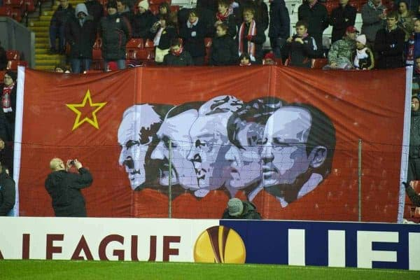 LIVERPOOL, ENGLAND - Thursday, February 18, 2010: A new banner on Liverpool's famous Spion Kop depicts legendary managers Bill Shankly, Bob Paisley, Joe Fagan, Kenny Dalglish and current manager Rafael Benitez before the UEFA Europa League Round of 32 1st Leg match against AFC Unirea Urziceni at Anfield. (Photo by: David Rawcliffe/Propaganda)