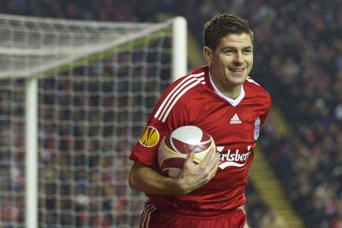LIVERPOOL, ENGLAND - Thursday, February 18, 2010: Liverpool's captain Steven Gerrard MBE in action against AFC Unirea Urziceni during the UEFA Europa League Round of 32 1st Leg match at Anfield. (Photo by: David Rawcliffe/Propaganda)