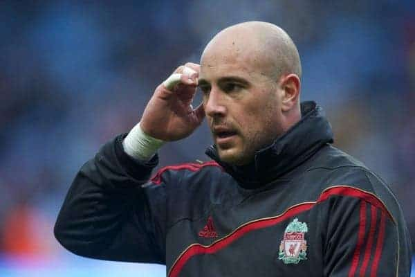 MANCHESTER, ENGLAND - Sunday, February 21, 2010: Liverpool's goalkeeper Pepe Reina during the Premiership match at the City of Manchester Stadium. (Photo by: David Rawcliffe/Propaganda)