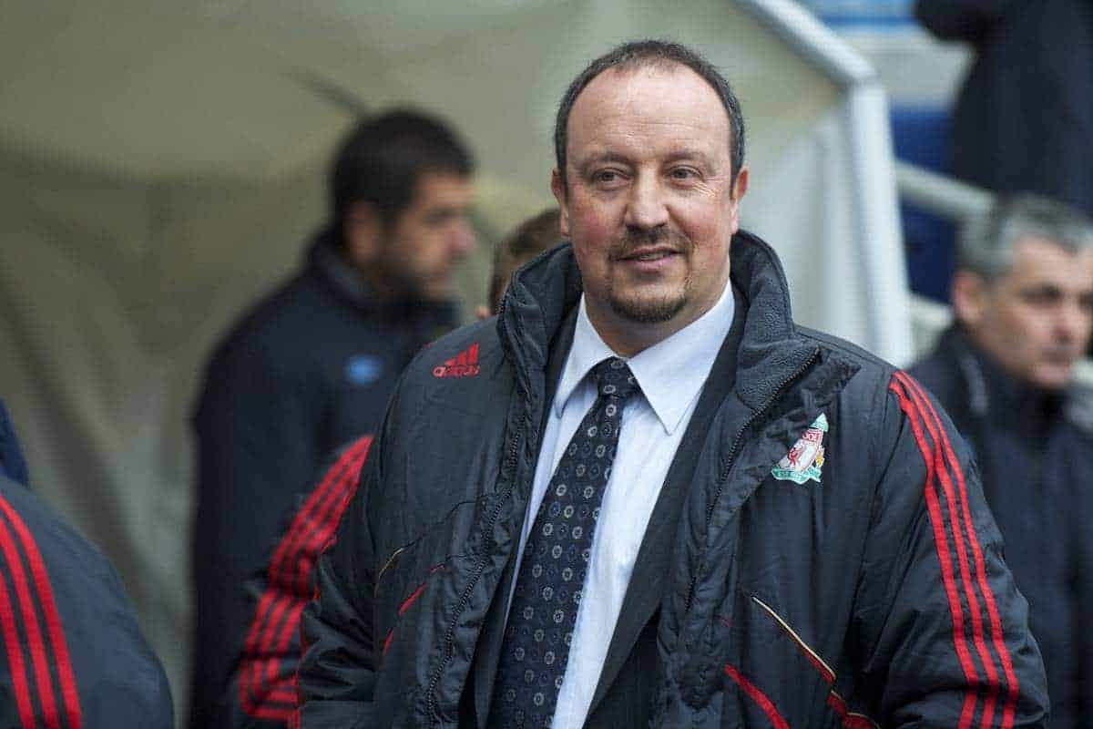 MANCHESTER, ENGLAND - Sunday, February 21, 2010: Liverpool's manager Rafael Benitez prepares to see his side take on Manchester City during the Premiership match at the City of Manchester Stadium. (Photo by: David Rawcliffe/Propaganda)