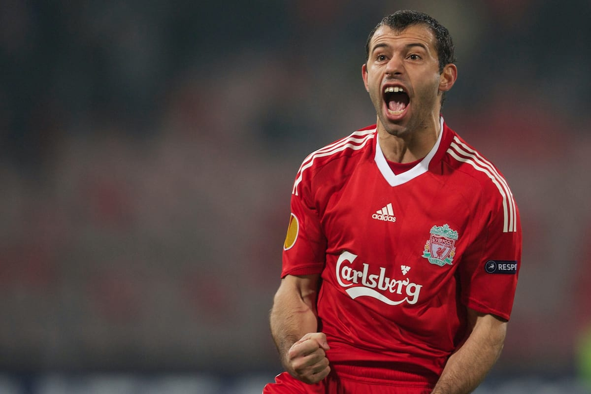 BUCHAREST, ROMANIA - Thursday, February 25, 2010: Liverpool's Javier Mascherano celebrates scoring the equalising first goal against FC Unirea Urziceni during the UEFA Europa League Round of 32 2nd Leg match at the Steaua Stadium. (Photo by David Rawcliffe/Propaganda)