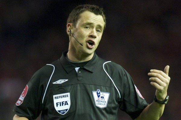 LIVERPOOL, ENGLAND - Monday, March 15, 2010: Referee Stuart Attwell during the Premiership match at Anfield. (Photo by: David Rawcliffe/Propaganda)