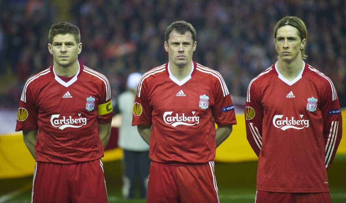LIVERPOOL, ENGLAND - Thursday, March 18, 2010: Liverpool's captain Steven Gerrard MBE, Jamie Carragher and Fernando Torres before the UEFA Europa League Round of 16 2nd Leg match against LOSC Lille Metropole at Anfield. (Photo by David Rawcliffe/Propaganda)
