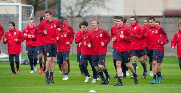 LIVERPOOL, ENGLAND - Wednesday, April 7, 2010: Liverpool's captain Steven Gerrard MBE and Dirk Kuyt lead their side during training at Melwood Training Ground ahead of the UEFA Europa League Quarter-Final 2nd Leg match against SL Benfica. (Pic by David Rawcliffe/Propaganda)