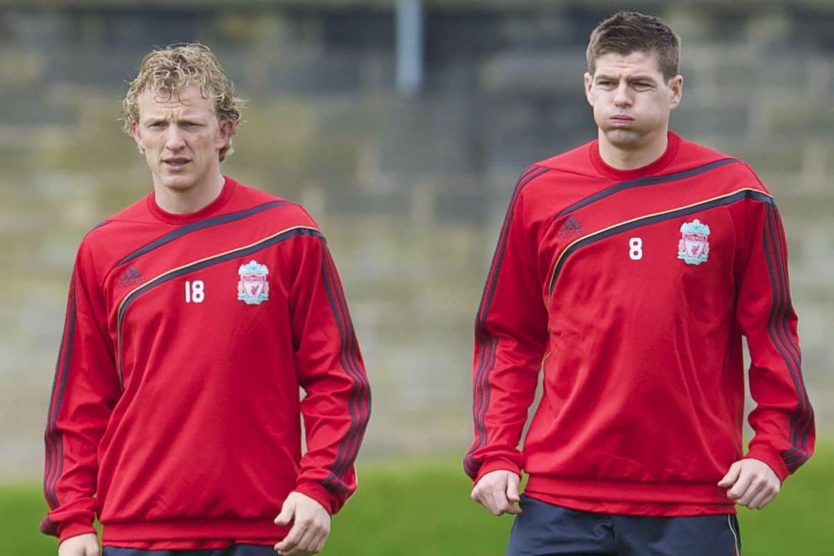 LIVERPOOL, ENGLAND - Wednesday, April 7, 2010: Liverpool's Dirk Kuyt and captain Steven Gerrard MBE during training at Melwood Training Ground ahead of the UEFA Europa League Quarter-Final 2nd Leg match against SL Benfica. (Pic by David Rawcliffe/Propaganda)