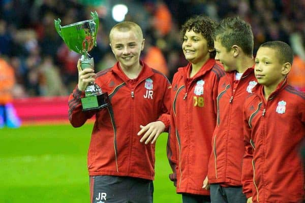 LIVERPOOL, ENGLAND - Monday, April 19, 2010: Liverpool's schoolboy team is presented to the Anfield crowd during half-time of the Premiership match against West Ham United at Anfield. (Photo by: David Rawcliffe/Propaganda)