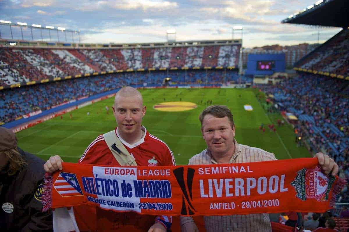 MADRID, SPAIN - Thursday, April 22, 2010: Liverpool supporters Peter Aldridge (L) and Vince Bryant (R) before the UEFA Europa League Semi-Final 1st Leg match against Club Atletico de Madrid at the Vicente Calderon. (Mandatory Credit: David Rawcliffe/Propaganda)