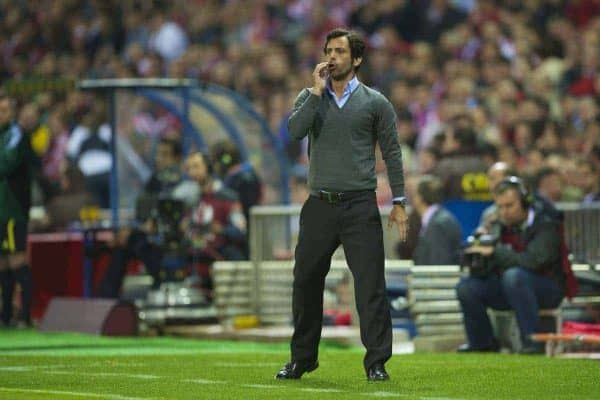 MADRID, SPAIN - Thursday, April 22, 2010: Club Atletico de Madrid's head coach Quique Sanchez Flores during the UEFA Europa League Semi-Final 1st Leg match against Liverpool at the Vicente Calderon. (Mandatory Credit: David Rawcliffe/Propaganda)