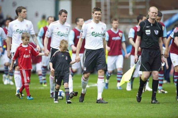 BURNLEY, ENGLAND - Sunday, April 25, 2010: Liverpool's captain Steven Gerrard MBE walks out to face Burnley during the Premiership match at Turf Moor. (Photo by David Rawcliffe/Propaganda)