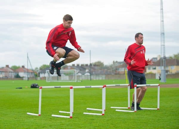 LIVERPOOL, ENGLAND - Wednesday, April 28, 2010: Liverpool's captain Steven Gerrard MBE and Jamie Carragher during training at Melwood Training Ground ahead of the UEFA Europa League Semi-Final 2nd Leg match against Club Atletico de Madrid. (Pic by David Rawcliffe/Propaganda)