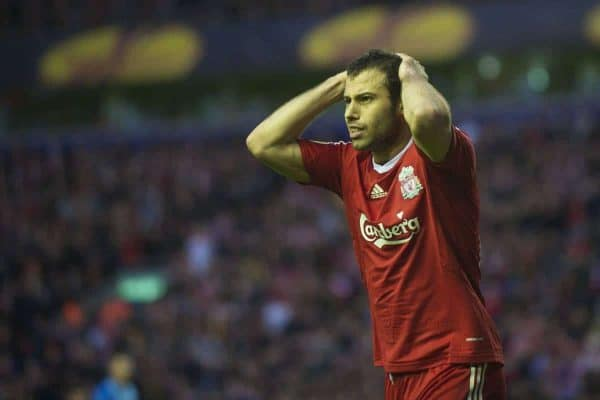LIVERPOOL, ENGLAND - Thursday, April 29, 2010: Liverpool's Javier Mascherano looks dejected after Dirk Kuyt puts a shot just over the bar from close range during the UEFA Europa League Semi-Final 2nd Leg match against Club Atletico de Madrid at Anfield. (Photo by: David Rawcliffe/Propaganda)