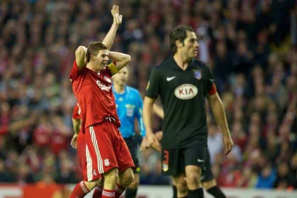 LIVERPOOL, ENGLAND - Thursday, April 29, 2010: Liverpool's captain Steven Gerrard MBE rues a missed chance against Club Atletico de Madrid during the UEFA Europa League Semi-Final 2nd Leg match at Anfield. (Photo by: David Rawcliffe/Propaganda)