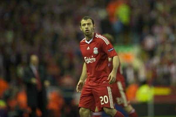 LIVERPOOL, ENGLAND - Thursday, April 29, 2010: Liverpool's Javier Mascherano during the UEFA Europa League Semi-Final 2nd Leg match against Club Atletico de Madrid at Anfield. (Photo by: David Rawcliffe/Propaganda)