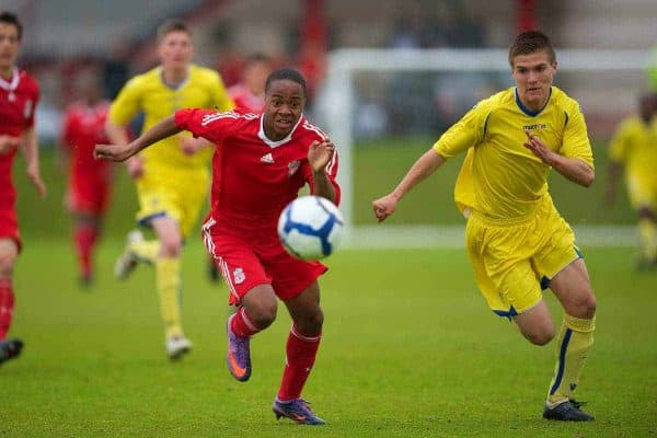 LIVERPOOL, ENGLAND - Thursday, April 29, 2010: Liverpool's Raheem Sterling in action against Leeds United during the FA Academy Under-18's League at the Academy. (Photo by David Rawcliffe/Propaganda)