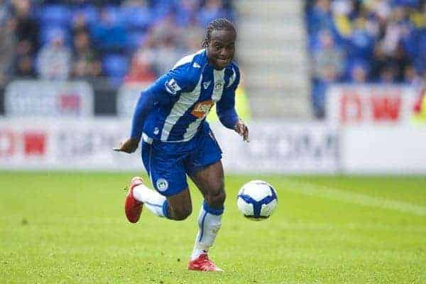 WIGAN, ENGLAND - Monday, May 3, 2010: Wigan Athletic's Victor Moses in action against Hull City during the Premiership match at DW Stadium. (Photo by David Rawcliffe/Propaganda)