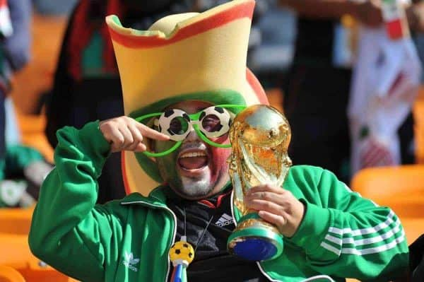 JOHANNESBURG, SOUTH AFRICA - Friday, June 11, 2010: A Mexico supporter with a copy of the World Cup trophy during the opening Group A match between South Africa and Mexico during the 2010 FIFA World Cup South Africa at the Soccer City Stadium. (Pic by Hoch Zwei/Propaganda)
