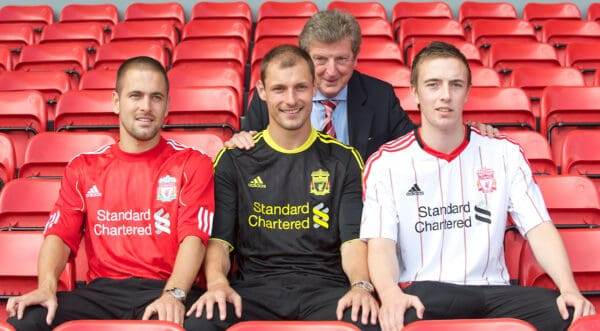 Liverpool FC's new signings Joe Cole, Danny Wilson and Milan Jovanovic with manager Roy Hodgson during a photo-call at Anfield. (Pic by David Rawcliffe/Propaganda)