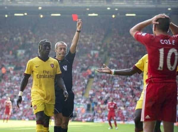 LIVERPOOL, ENGLAND - Sunday, August 15, 2010: Liverpool's Joe Cole is shown the red card by referee Martin Atkinson against Arsenal during the Premiership match at Anfield. (Pic by: David Rawcliffe/Propaganda)
