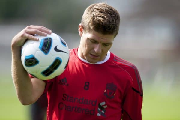 LIVERPOOL, ENGLAND - Wednesday, August 18, 2010: Liverpool's captain Steven Gerrard MBE during a training session at Melwood ahead of the UEFA Europa League Play-Off 1st Leg match against Trabzonspor A.S. (Pic by: David Rawcliffe/Propaganda)