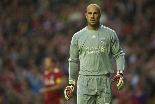 LIVERPOOL, ENGLAND - Thursday, August 19, 2010: Liverpool's goalkeeper Pepe Reina in action against Trabzonspor during the UEFA Europa League Play-Off 1st Leg match at Anfield. (Pic by: David Rawcliffe/Propaganda)