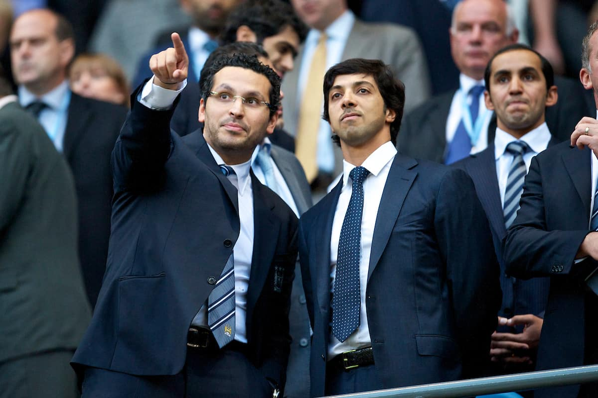 MANCHESTER, ENGLAND - Monday, August 23, 2010: Manchester City's Chairman Khaldoon Al Mubarak (L) with Owner Sheikh Mansour bin Zayed al Nahyan sees his side take on Liverpool in his first ever Premiership match at the City of Manchester Stadium. (Photo by David Rawcliffe/Propaganda)