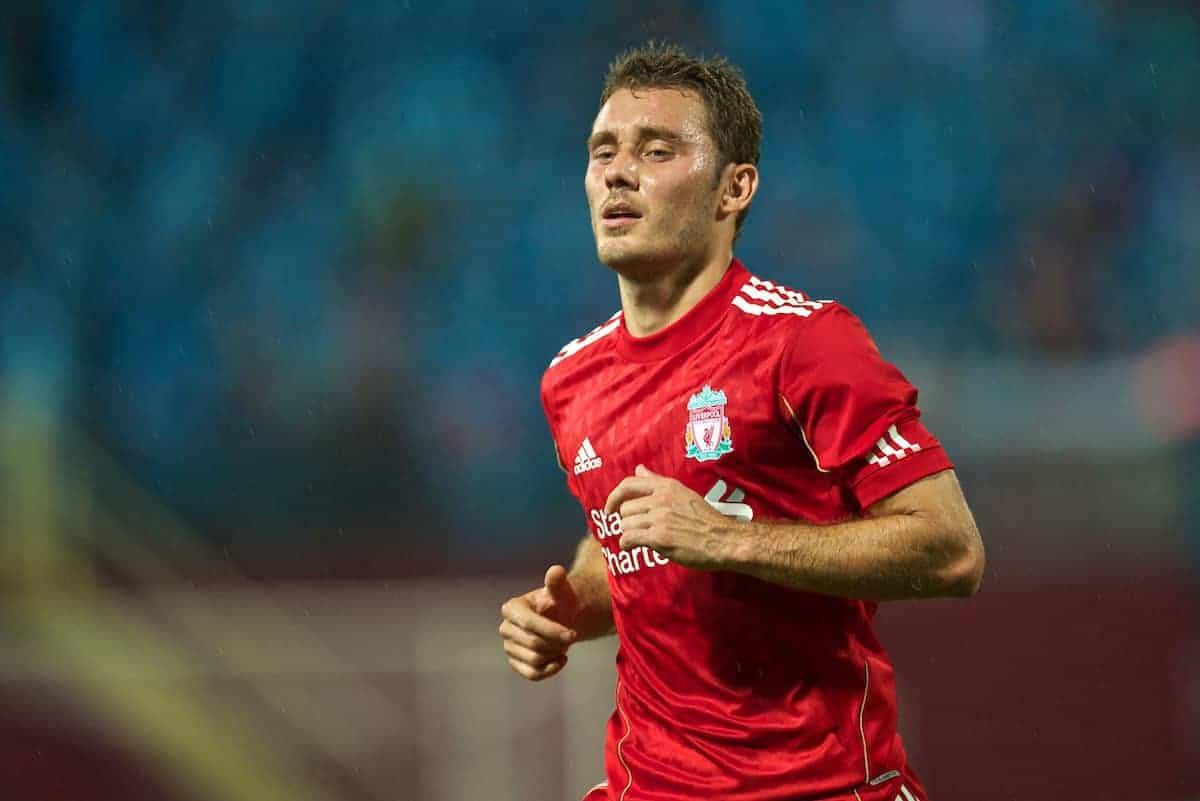 TRABZON, TURKEY - Thursday, August 26, 2010: Liverpool's Fabio Aurelio in action against Trabzonspor during the UEFA Europa League Play-Off 2nd Leg match at the Huseyin Avni Aker Stadium. (Pic by: David Rawcliffe/Propaganda)