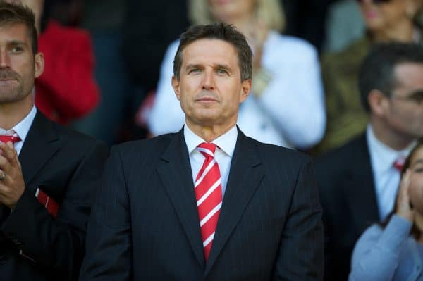 LIVERPOOL, ENGLAND - Sunday, August 29, 2010: Liverpool's managing director Christian Purslow before the Premiership match against West Bromwich Albion at Anfield. (Photo by David Rawcliffe/Propaganda)