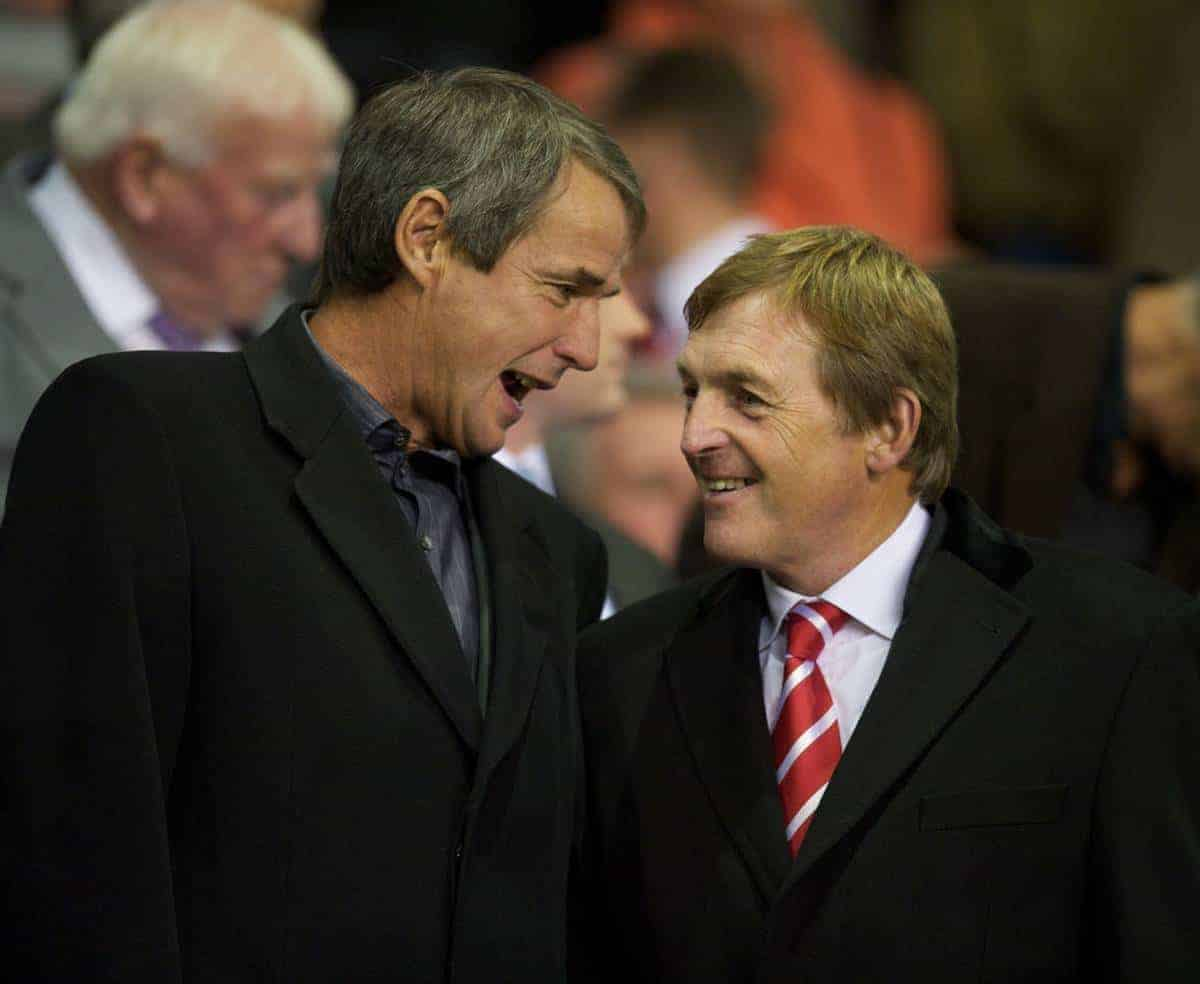 LIVERPOOL, ENGLAND - Thursday, September 16, 2010: Former Liverpool players Alan Hansen and Kenny Dalglish during the opening UEFA Europa League Group K match against FC Steaua Bucuresti at Anfield. (Photo by David Rawcliffe/Propaganda)