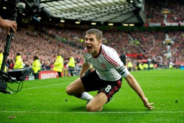 MANCHESTER, ENGLAND - Sunday, September 19, 2010: Liverpool's captain Steven Gerrard MBE celebrates scoring his, and side's, second goal against Manchester United during the Premiership match at Old Trafford. (Photo by David Rawcliffe/Propaganda)