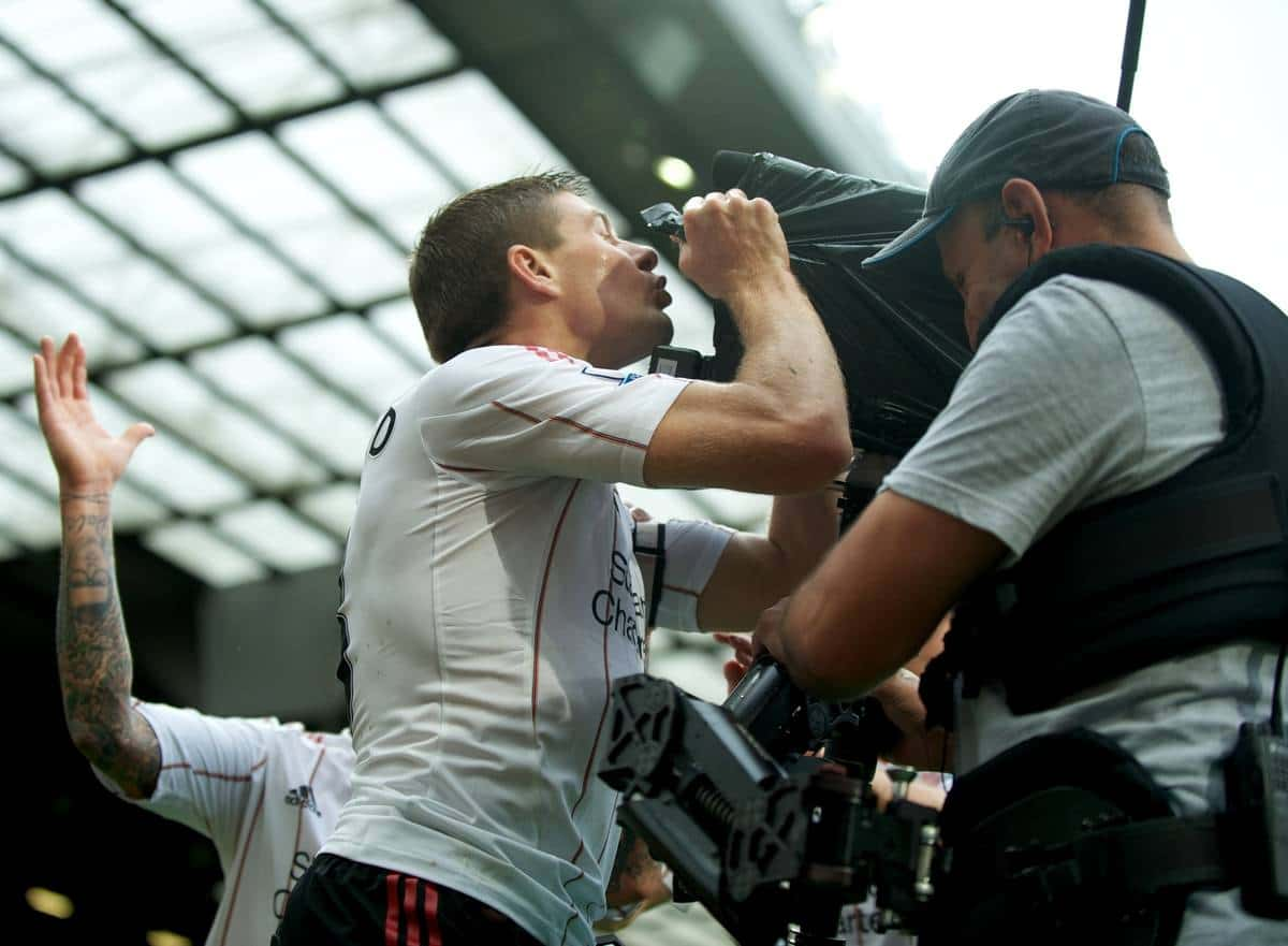 MANCHESTER, ENGLAND - Sunday, September 19, 2010: Liverpool's captain Steven Gerrard MBE celebrates scoring his, and side's, second goal against Manchester United by kissing the television steady cam during the Premiership match at Old Trafford. (Photo by David Rawcliffe/Propaganda)