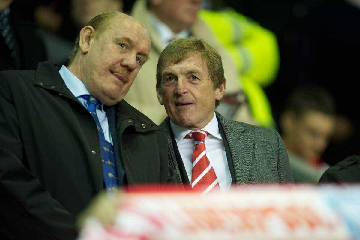 LIVERPOOL, ENGLAND - Wednesday, September 22, 2010: Liverpool's Legend Kenny Dalglish and Brian Barwick during the Football League Cup 3rd Round match against Northampton Town at Anfield. (Photo by David Rawcliffe/Propaganda)