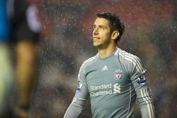LIVERPOOL, ENGLAND - Wednesday, September 22, 2010: Liverpool's goalkeeper Brad Jones looks dejected after a 4-2 penalty shoot-out defeat to Northampton Town during the Football League Cup 3rd Round match against Northampton Town at Anfield. (Photo by David Rawcliffe/Propaganda)