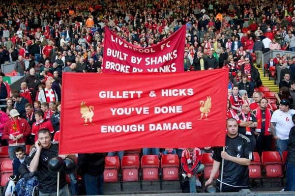 "LIVERPOOL, ENGLAND - Saturday, September 25, 2010: Liverpool's supporters on the Spion Kop display a banner reading ""Gilett & Hicks You've Done Enough Damage"" before the Premiership match at against Sunderland Anfield. (Photo by David Rawcliffe/Propaganda)"