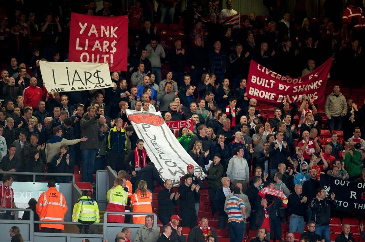 LIVERPOOL, ENGLAND - Saturday, September 25, 2010: Liverpool's supporters on the Spion Kop stage a protest against the club's American owners Tom Hicks and George N. Gillett Jr. after the Premiership match against Sunderland at Anfield. (Photo by David Rawcliffe/Propaganda)