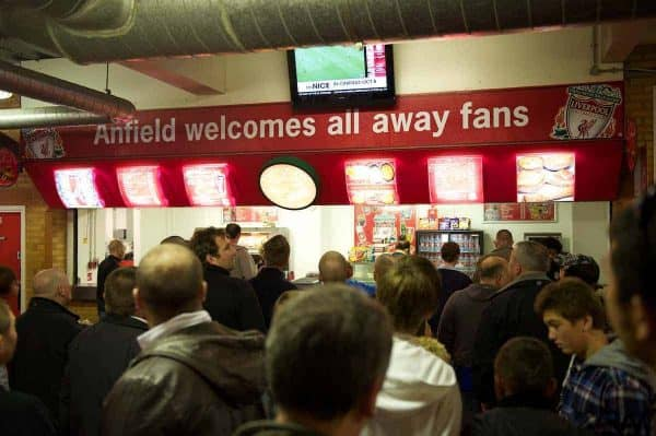 LIVERPOOL, ENGLAND - Saturday, September 25, 2010: Signage in the away supporters section of the Anfield Road stand during the Premiership match against Sunderland at Anfield. (Photo by David Rawcliffe/Propaganda)