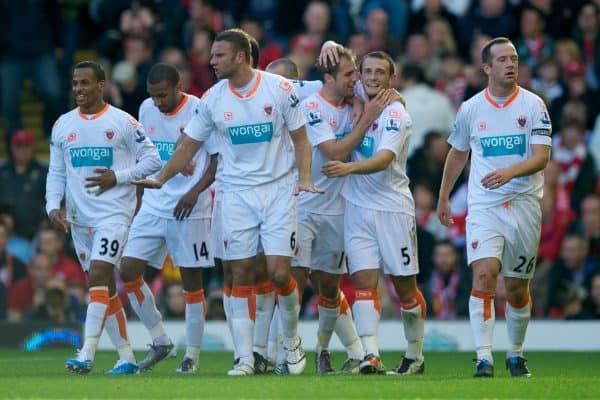 Blackpool's Luke Varney celebrates with team-mates DJ Campbell, Elliot Grandin, Ian Evatt, Neal Eardley and captain Charlie Adam after scoring his side's second goal against Liverpool during the Premiership match at Anfield. (Photo by David Rawcliffe/Propaganda)