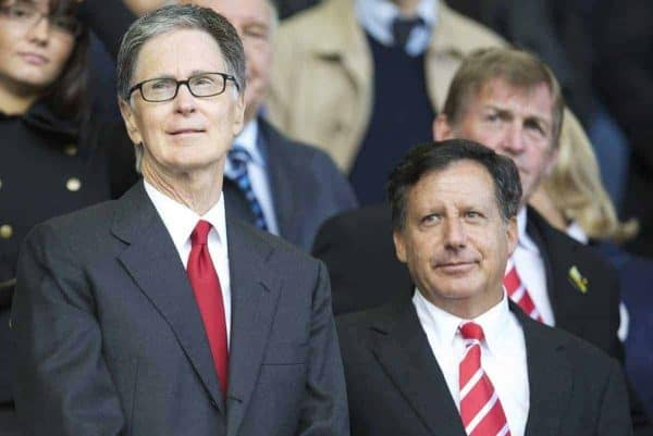 LIVERPOOL, ENGLAND - Sunday, October 17, 2010: Liverpool's owner John W. Henry and co-owner and NESV Chairman Tom Werner during the 214th Merseyside Derby match at Goodison Park. (Photo by David Rawcliffe/Propaganda)