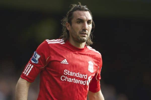 LIVERPOOL, ENGLAND - Sunday, October 17, 2010: Liverpool's Sotirios Kyrgiakos in action against Everton during the 214th Merseyside Derby match at Goodison Park. (Photo by David Rawcliffe/Propaganda)