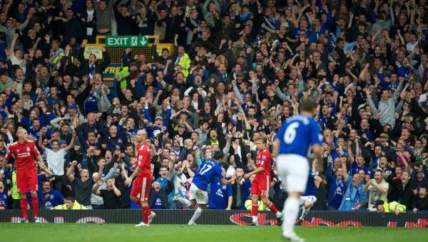 LIVERPOOL, ENGLAND - Sunday, October 17, 2010: Everton's Tim Cahill celebrates scoring the opening goal against Liverpool during the 214th Merseyside Derby match at Goodison Park. (Photo by David Rawcliffe/Propaganda)