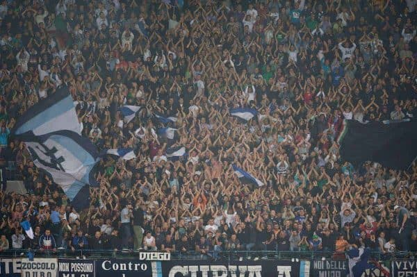 NAPELS, ITALY - Thursday, October 21, 2010: SSC Napoli supporters during the UEFA Europa League Group K match against Liverpool at the Stadio San Paolo. (Pic by: David Rawcliffe/Propaganda)