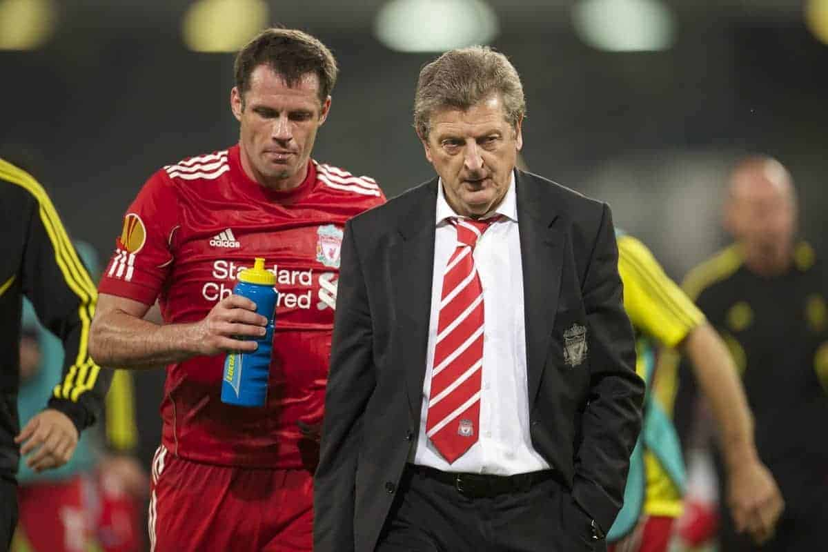 NAPELS, ITALY - Thursday, October 21, 2010: Liverpool's manager Roy Hodgson and Jamie Carragher walk off the pitch at half-time during the UEFA Europa League Group K match against SSC Napoli at the Stadio San Paolo. (Pic by: David Rawcliffe/Propaganda)