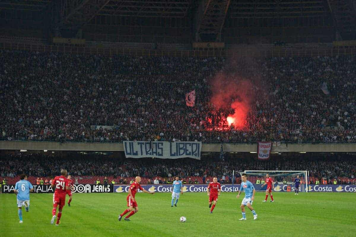 NAPELS, ITALY - Thursday, October 21, 2010: SSC Napoli supporters light a flare as their side take on Liverpool during the UEFA Europa League Group K match at the Stadio San Paolo. (Pic by: David Rawcliffe/Propaganda)